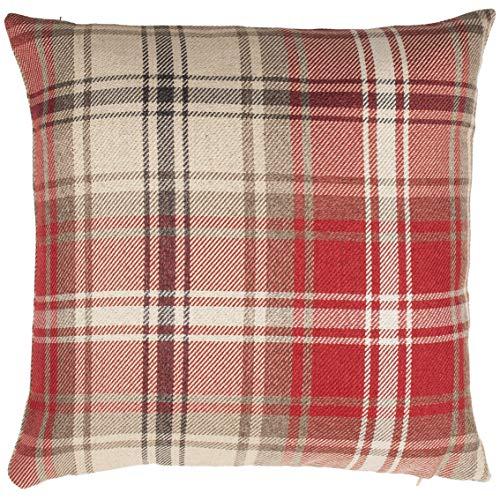 McAlister Textiles Angus | Kissenbezug für Sofakissen in Rot | 40 x 40cm | gewobenes Kariertes Tartan-Muster | Deko Kissenhülle für Sofa, Bett, Couch im Schottenkaro -