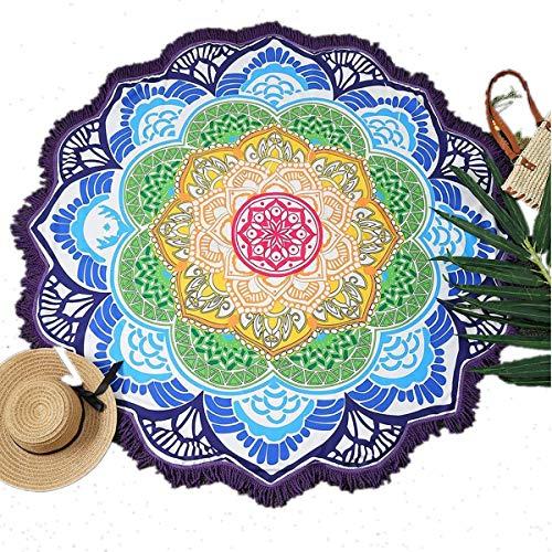 Manfâ Ronde Serviette de Plage Gland décor avec Motif de Fleurs 150 * 150CM Nappe Circulaire Tapis de Pique-Nique de Yoga pour la Saint-Valentin