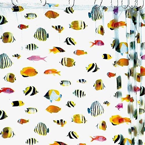 HAB & GUT (DV045) Duschvorhang 180x180 cm, bunte Korallenfische, transparent, inkl. Kunststoffhaken (Duschvorhang Fische)