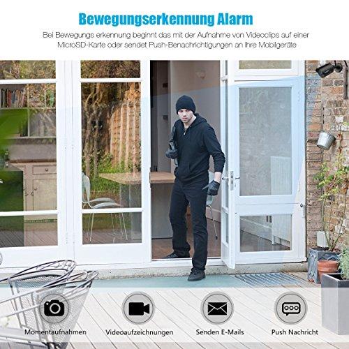 WLAN IP Kamera, Bedee HD Außen Überwachungskamera Sicherheitskamera Unterstützt IR Nachtsicht, Bewegungserkennung, 128G SD-Karte, iOS/Android/Windows mit 3M Stecker Wasserdicht Cam für Outdoor/Innen