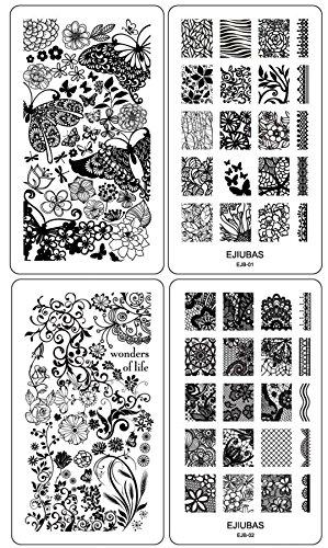 ejiubas-collezione-di-mascherine-decorative-per-stampa-su-unghie-con-motivi-vari-su-entrambi-i-lati-
