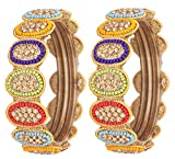 NMII 3 Color Beautiful & Trendy Round Design Pattern Glass Bangle/Kada Set Studded With Zircon And Other Stones For Women & Girls On Wedding & Festive Occasions