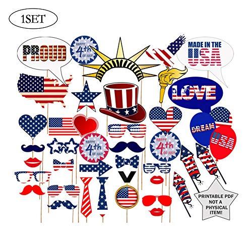 40 PCS American Independence Day Glücklich Juli 4. Photo Booth Props Masken-Hut Schnurrbart Brille Partei-Geschenk -