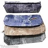 TrAdE shop Traesio- Etui Jeans Bedruckt Stifthalter etc. Kosmetik Reißverschluss Schule