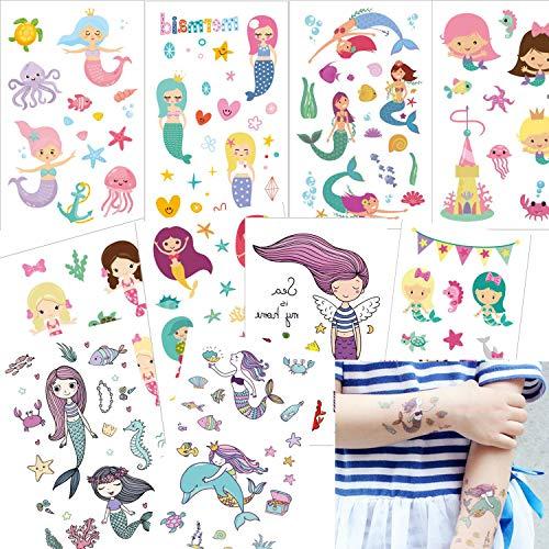 u Kinder Tattoos, Ouinne Temporäre Tattoos Sticker Aufkleber Geschenke für Mädchen Kindergeburtstag Party Wasserdicht ()
