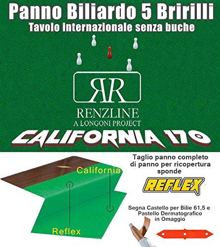 Panno biliardo 5 birilli tavolo internazionale senza buche Renzline by Longoni California verde taglio .305x170 copertura piano biliardo con campo