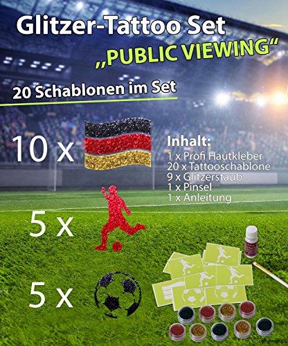 Glitzer Tattoo Set Public Viewing WM 2018 mit Profikleber,1x Pinsel,9x Glitzer,20x Tattooschablone -