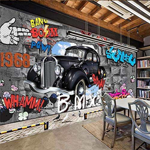 ZHENSI 3D Wandtattoo Custom Painted Fliesen 3D Retro Nostalgie Continental Cafe Bar 3D Tapete 3D Wallpaper Hintergrund Auto Benutzerdefinierte Graffiti Wandbild, 245 (H) × 330 (W) cm 330w Auto