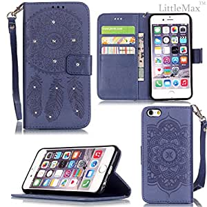 iPhone 6 Plus/6S Plus Case,LittleMax Embossed PU Leather [Bling Crystal] Stand Flip Folio Wallet Cover for iPhone 6 Plus/6S Plus [Screen Protector,Stylus,Cleaning Cloth]-Wind Bell Dark Blue