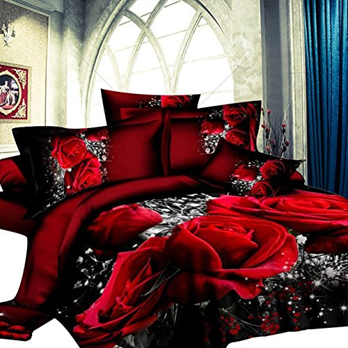 GD-SJK Bettwäsche, dreiteilig, 3D rote Rose,Bedruckte Bettwäsche Tröster Set Romantische Blume Bettbezug für Doppelbett 135 x 200 cm in rot aus Microfase (220 * 240cm) (Grau Bettwäsche Tröster Sets)