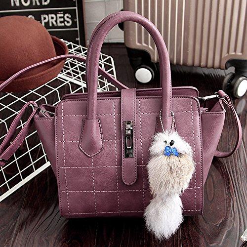 HQYSS Damen-handtaschen Frauen PU-lederner einfacher wilder Schulter-Kurier-Handtaschen-Normallack-große Kapazität Crossbody Beutel-Einkaufstasche red oak (fox pendant)