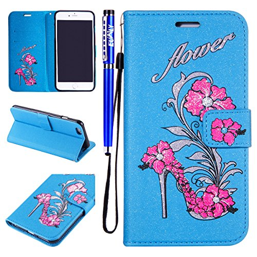 EUWLY Bling Glitter Portafoglio Custodia in PU Pelle per iPhone 6 Plus/iPhone 6s Plus (5.5) Wallet Cover Bello Fashion Printing Fiore Flower Pattern Style Custodia Cover Elegante Brillante Tacchi Alt Blu