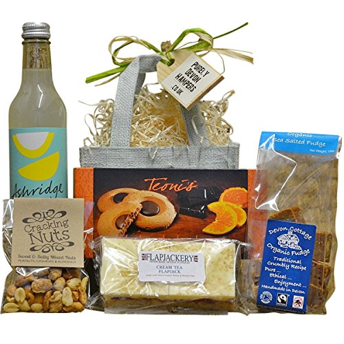 Purely Devon Hampers - Fudge, Nuts and Goodies (aqua jute bag) Gift For Her