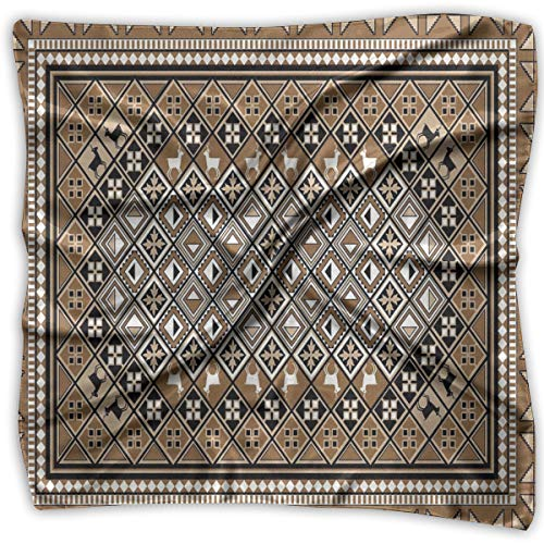 Mixed Designs Silk Square Scarves Bandana Scarf, Geometrical Ethnic Eastern Frame With Diagonal Checks And Deer,Womens Neck Head Set Baby Girls Pink Check