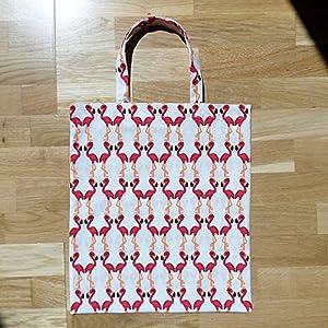 Flamingo Stoff Tasche / Umwelt Beutel / 100 % Bio-Baumwolle / genäht in Deutschland / weiß rot