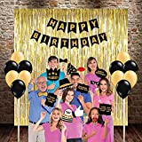 Party Propz Happy Birthday Party 41 Pcs Combo (3Golden Foil Curtain+24Pcs Balloon+1 Banner+13 Photo Booth)