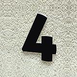 Colours-Manufaktur Hausnummer Nr. 4 - Schriftart: Modern - Höhe: 20-30 cm - viele Farben wählbar (RAL 9005 tiefschwarz (schwarz) glänzend, 30 cm)