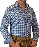 trenditionals Trachtenhemd Martin kariert mit edlen Karo Kontrasten, Größen:XXL;Farbe:kobalt - weiss