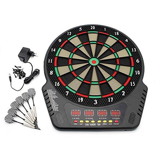 Forever Speed Profi Elektronische Dartscheibe LCD Dartboard Dartspiel Dart inkl.6 Pfeile Dart Scheibe mit Dartpfeile Netzadapter für 1-16 Spieler (Schwarz)
