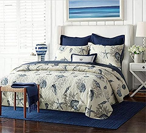 Mowiss 100% Cotton Quilted Bedspread Bedding Blue Shell Tread Design for King Size Bed All Season (Sea Theme,3-piece Quilt