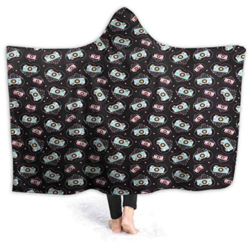 Felsiago Prunushome Original Decke-Poncho Valentines Lovers Muffins Beste tragbare Decke weichen Wurf drinnen oder drau?en - Erwachsene Männer Frauen Kinder 80W von 60H Zoll (mit Kapuze)