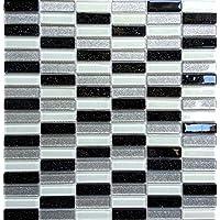 Azulejo mosaico de vidrio de 30 cm x 30 cm, mate en ladrillo, negro, turquesa, blanco y plateado con brillo (MT0028)