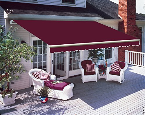 Greenbay 3 m x 2 5m DIY Patio Retractable Manual Awning Garden Sun Shade  Canopy Wine Red with Fittings and Crank Handle