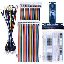 Kuman Kit De Expansion Para Raspberry Pi Placa De Expansión De Tipo T + 400 Puntos De Empalme Panel Sin Soldadura + IDE De 40 Pines Macho - Hembra - Cable De Extensión Macho + 35 Piezas K80