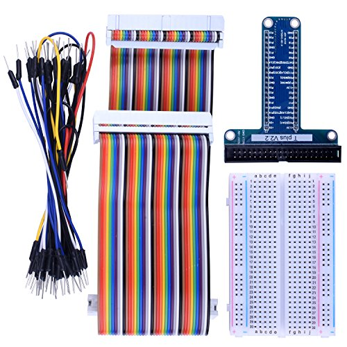 Kuman RPi GPIO Breakout Erweiterungs Kit für Raspberry PI mit 3,5 Zoll LCD Bildschirm, T-Typ expansion board+ 400 points Tie Points Solderless Breadboard + 40 Pin IDE male - female - male extension Kabel + 35pcs Jump wires K80 (Motherboard-lüfter-kit)