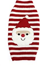 Generic Santa Claus Red and White Striped Cartoon Dog Sweater Dog Clothes - L