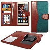 N4U Online® Green Clip On Dual Fibre Book Wallet Case Cover For Prestigio MultiPhone 7500