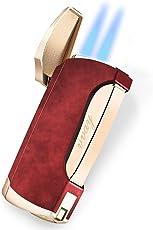 VVAY Zigarren Feuerzeuge, Sturmfeuerzeug Jetflamme Gas Butane Nachfüllbar Turbo Doppelflamme Windfestes für Männer Rot (Verkauft Ohne Gas)