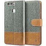 BEZ® Huawei P9 Hülle, Handyhülle Kompatibel für Huawei P9, Handytasche Schutzhülle Tasche Flip Case [Stoff BEZ®ug und PU Leder] mit Kreditkartenhaltern - Grau