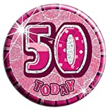 50th Birthday Badge Age Big 50 Birthday Badge Jumbo Badge Female Large Big Gifts by Card and Party Store