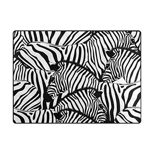 My Daily Zebra Schwarz Weiß Streifen Bereich Teppich 4'x 5' 7,6cm Wohnzimmer Schlafzimmer Küche Dekorativ Leichtem Schaumstoff Teppich, Bedruckt 4'10
