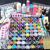 Coscelia 48 pc Poudre Acrylique Paillette Glitter Brosse à Ongles Pince Nail Art Kit Manucure Set