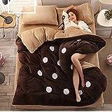 Leyan-4Parure de lit solide en velours Corail épaissir chaud draps de lit Parure de lit avec couette
