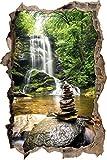 pierres zen devant cascade percée de mur en 3D look, mur ou format vignette de la porte: 92x62cm, stickers muraux, sticker mural, décoration murale