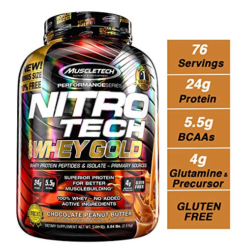 Muscletech Performance Series Nitro Tech 100% Whey Gold, Chocolate Peanut Butter, 2508 g -