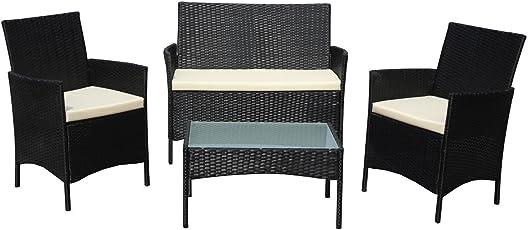 SVITA Brooklyn Gartenmöbel Poly Rattan Sitzgruppe Essgruppe Set  Sofa Garnitur Lounge Braun, Grau Oder