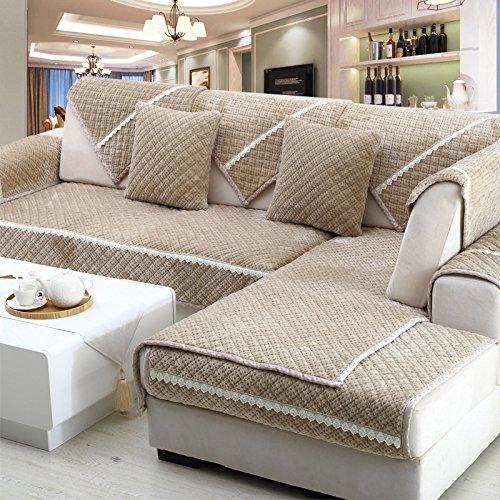 New day®-Cuscino del divano materasso inverno antiscivolo in stile europeo di spessore cuscino del divano peluche , 70*90cm
