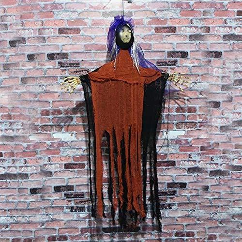 Für Augen Glühende Kostüm Rot - WSJDE Halloween Hängedeko Elektrisches Spielzeug Hanging Horror Brid Puppen glühenden Augen Scare Stimme Spukhaus Horrifying Spookyrot