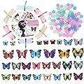 WINOMO Set Fahrrad Dekor Fahrrad 108pcs Rad Speichen Perlen Leuchtendes Kunststoff Runde Speichen Bead 30pcs Schmetterlinge Clips 6pcs Dragonflies Clips