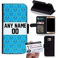 Case88 [Samsung Galaxy S7 Edge] Custodia in PU Pelle, Supporto Stand e Porta Carte Integrati Portafoglio Flip Cover - Personalizzata Sports Design Boys Lacrosse DSE0194