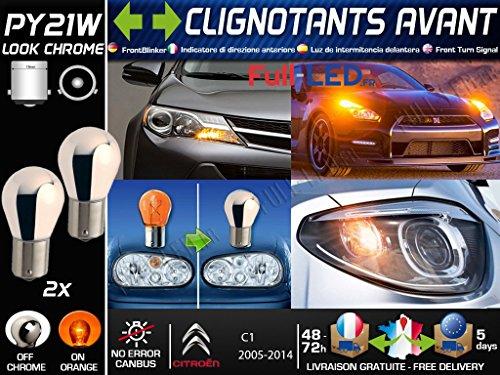 Pack 2 Ampoules PY21W Chromé - Clignotants Avant - CITROËN C1