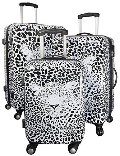 35510 Kofferset Gepäckset Polycarbonat ABS Hartschalen Koffer 3tlg. Set Trolley Reisekoffer Reisetrolley Handgepäck Boardcase Graphic Leopard