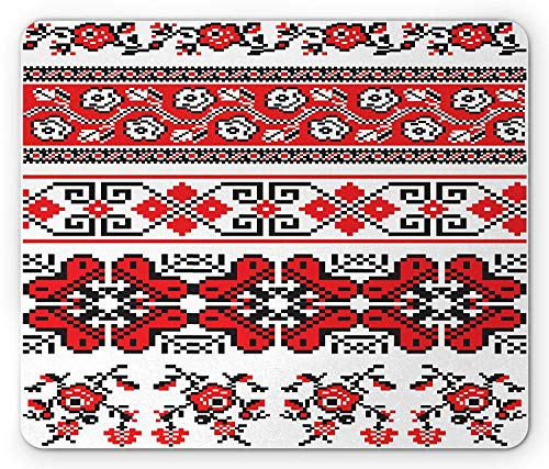 Ukrainian Mouse Pad, Banner Style Flower and Geometric Patterns Rhombuses Swirls Abstract Flora Rushnik, Standard Size Rectangle Non-Slip Rubber Mousepad, Black Red Flora Swirl