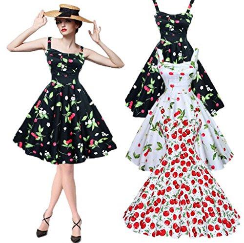 VERNASSA Abito da sera retrò da Donna, Abiti da festa rockabilly con fiocchi di neve anni '50 Polka Pinup Swing Dress con motivo floreale,Multicolore, S-4XL 1200-Red