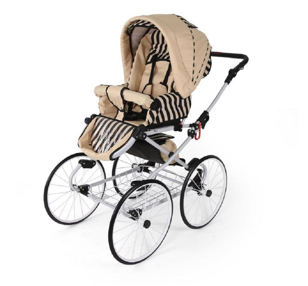 Hogartrend Romantic 17-Inch Wheel Baby Pram - 3 Piece Complete Set hogartrend A retro, classic and elegant style pram with all modern features. The kit includes:-chassis – large white 17-inch rubber wheels without air. - Carriage (canopy and cover)- Buggy (canopy and cover)- Pram (car seat with canopy and cover). 9