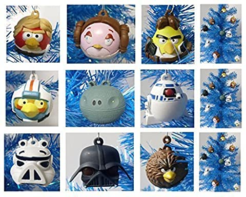 Angry Birds Star Wars 9 Piece Holiday Christmas Ornament Set Featuring Luke, Chewbacca, Stormtrooper, C3PO, Darth Vader, Obi Wan, Princess Leia, Yoda, Han Solo, and R2D2 - Shatterproof Plastic Ornaments Range from 2 to 3 Tall